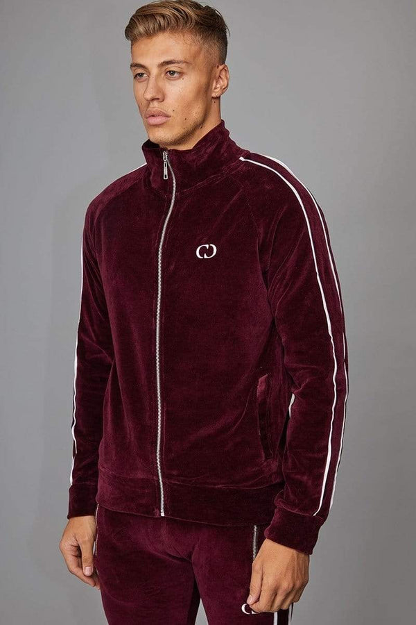 Criminal Damage TRACKTOP Rep Tracksuit Top - Burgundy/ White