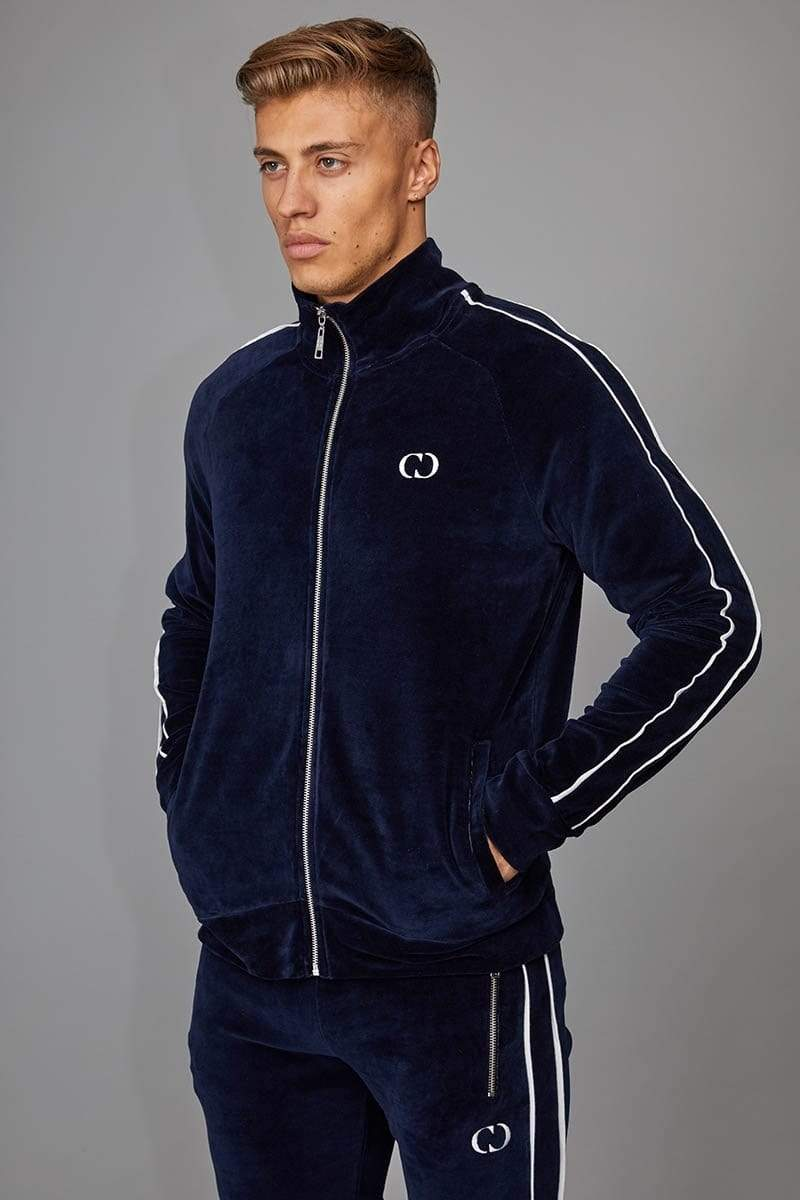 Criminal Damage TRACKTOP Rep Tracksuit Top - Navy/ Off White