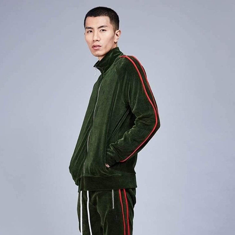Rep Tracksuit Top - Olive/Red