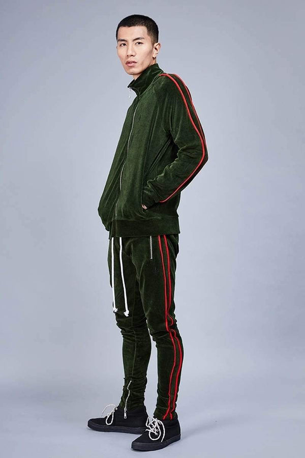 Criminal Damage TRACKTOP Rep Tracksuit Top - Olive/Red