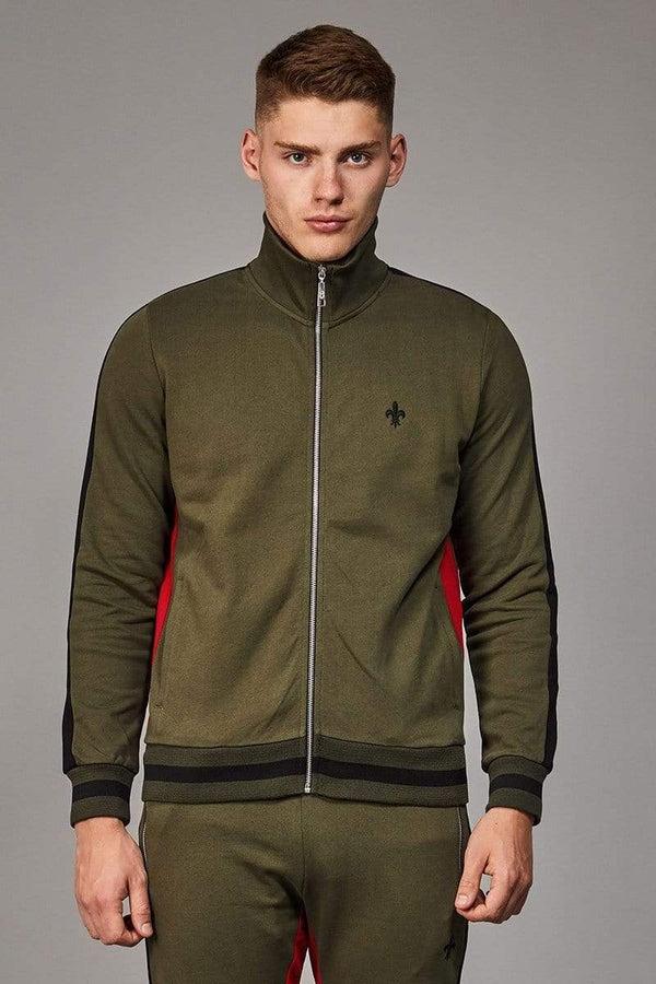 Criminal Damage TRACKTOP Roman Track Top - Olive/ Multi