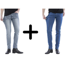 Indlæs billede til gallerivisning 2x De Perfekta Jeansen: Denim Blue + Grey Denim