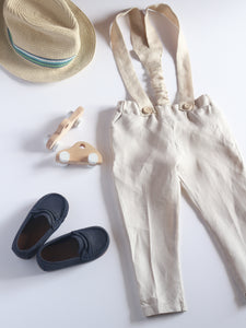 Long linen pants with suspenders
