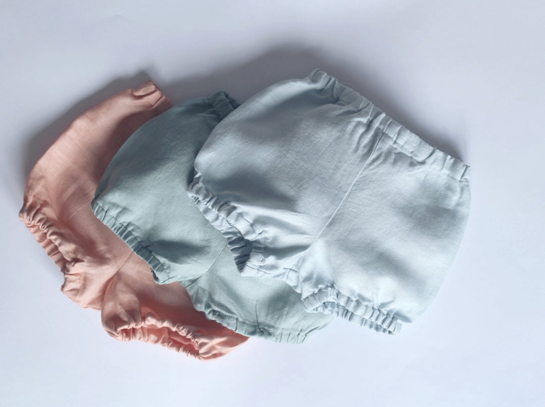 linen bloomers in peachy pink, sage green and baby blue by Zekko Kids Clothes