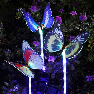2019 New-Upgrade the artificial butterfly solar garden pillar lights--3PC(One costs $9.90)
