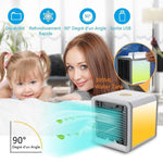 USB Charge Type Mini Fan Colorful Lamp Portable Air Conditioner- White