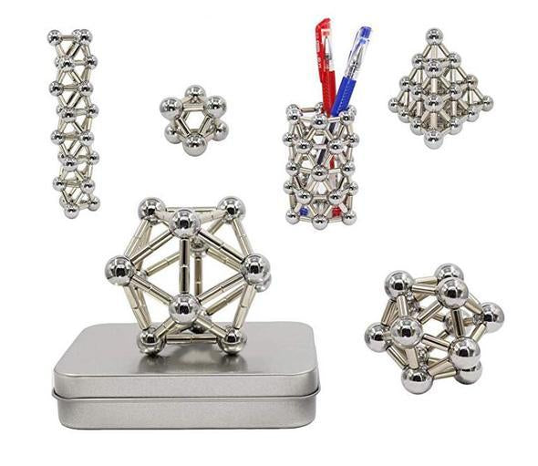 HOT SALE!!  Magnet Block Construction Set Jigsaw Puzzle Stacking Game Sculpture Table Toy (Silver)