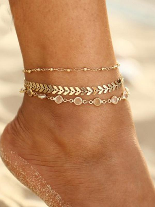 Crystal Decorative Faux Pearl Anklet