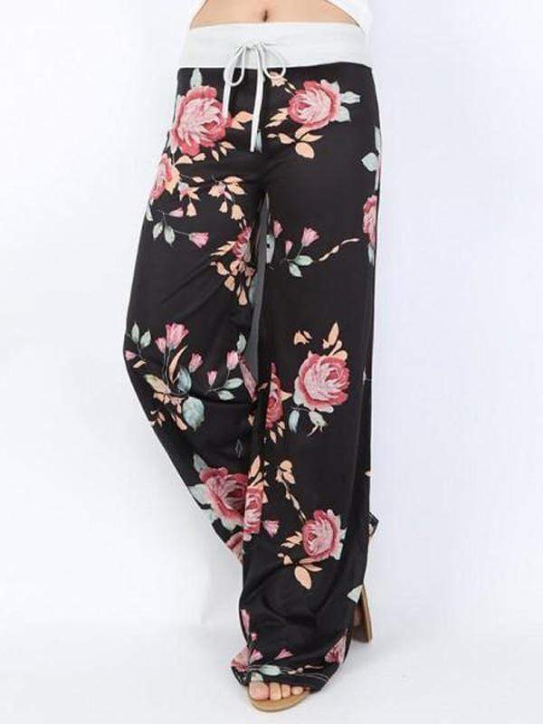 Loose Floral Printed Long Pants