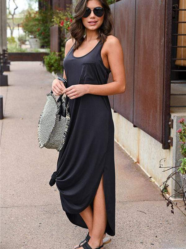 Irregular Split Maxi Dresses With Pocketed