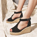 T-Strap Espadrilles Wedges Sandals