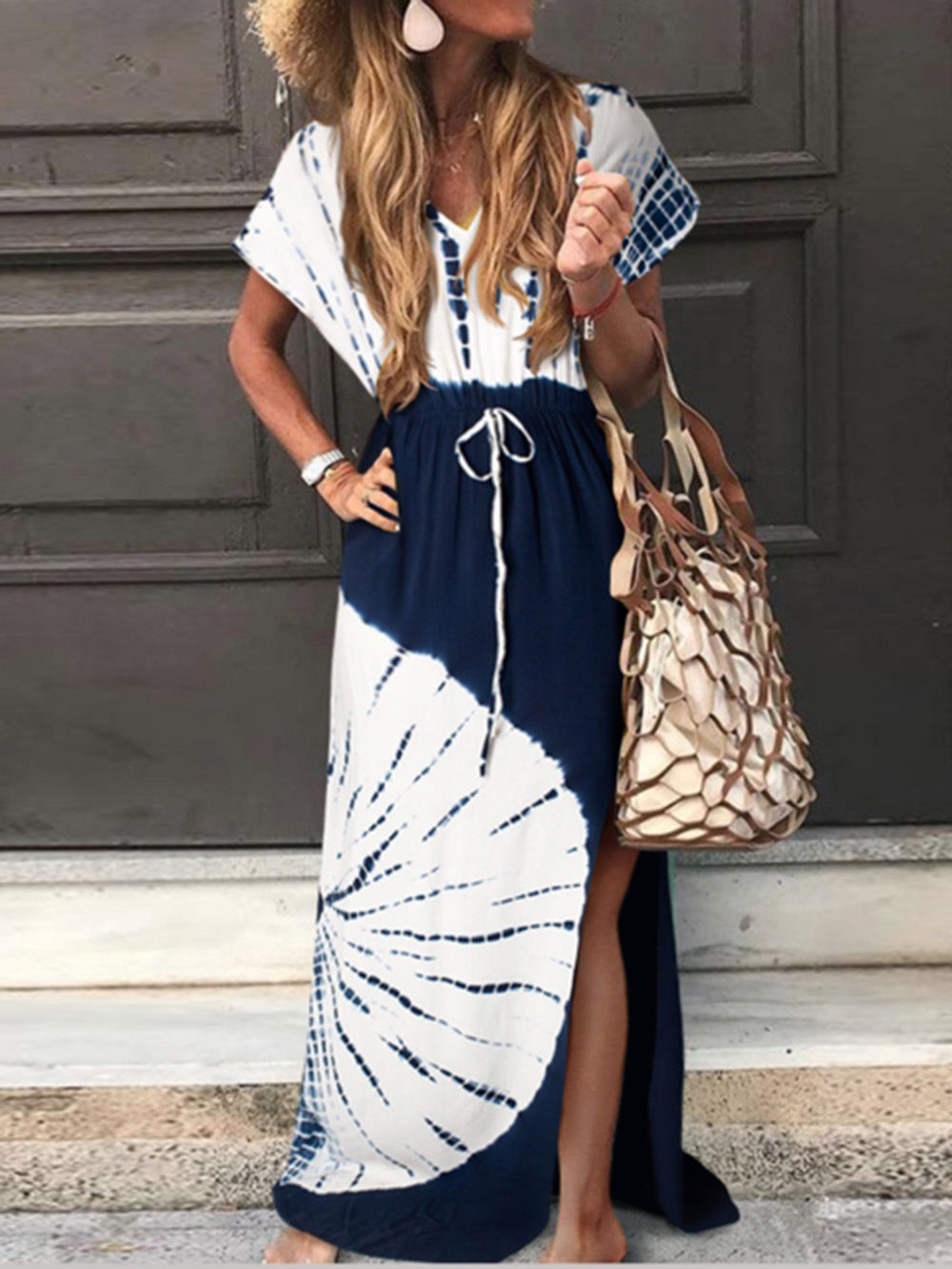 V-neck Tie Dye Drawstring Maxi Dress