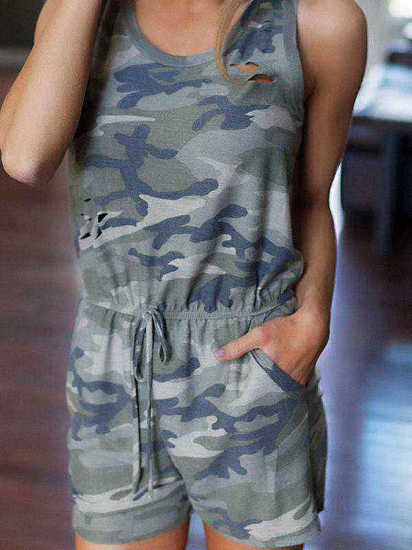 Camouflage Printed Hollow-out Romper