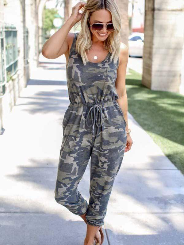 Camouflage Printed Vest Jumpsuits