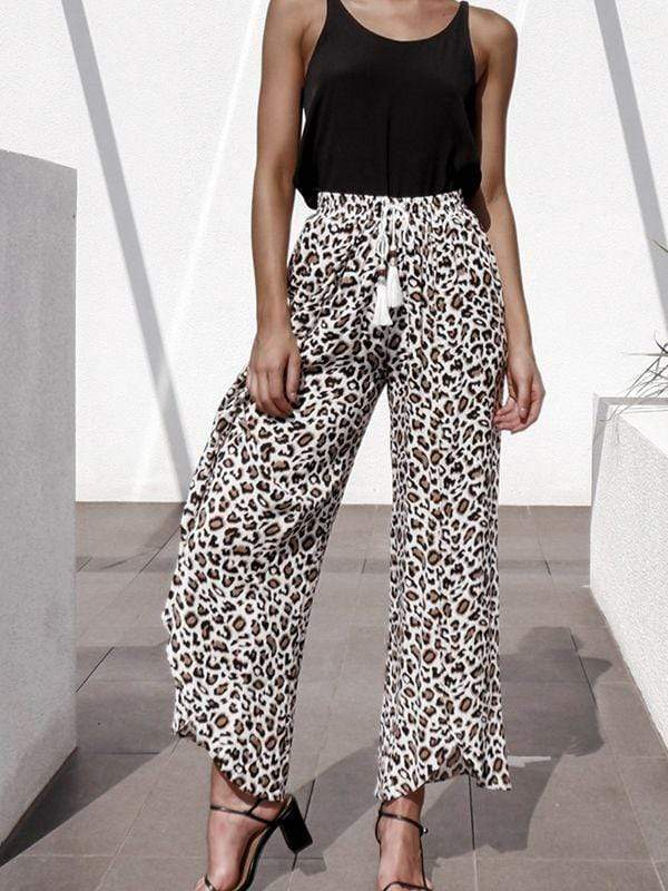 Tassel & Beaded Detail Leopard Pants