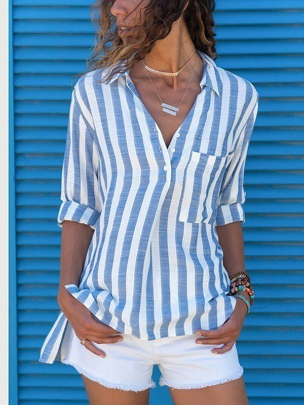 Long Sleeve Stripe Blouses