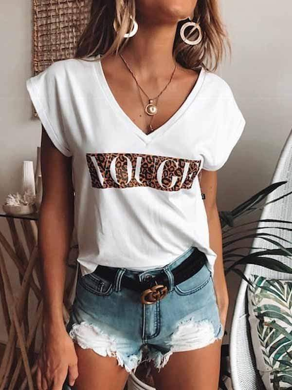 Vogue Leopard Print T-shirts