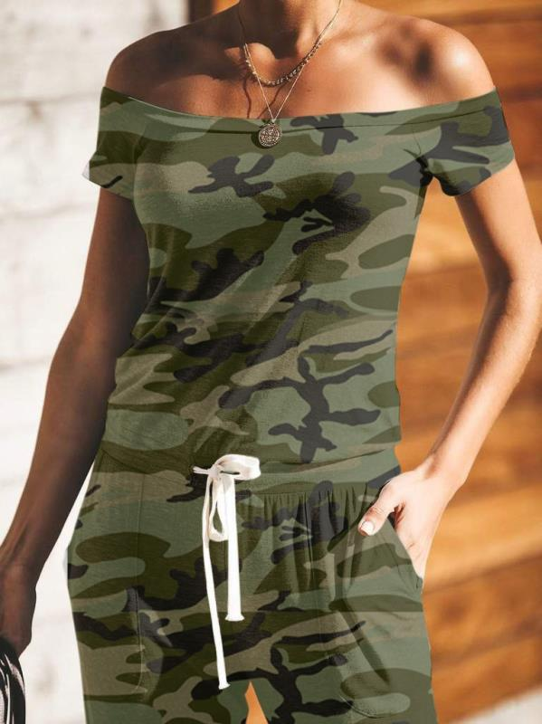 Camouflage Drawstring Jumpsuit With Pocketed