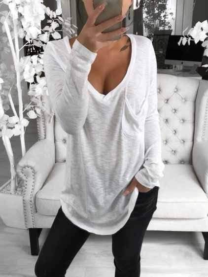 Solid Color Deep V Casual T-shirts