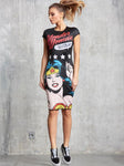 Wonder Woman Printing Slim Dress