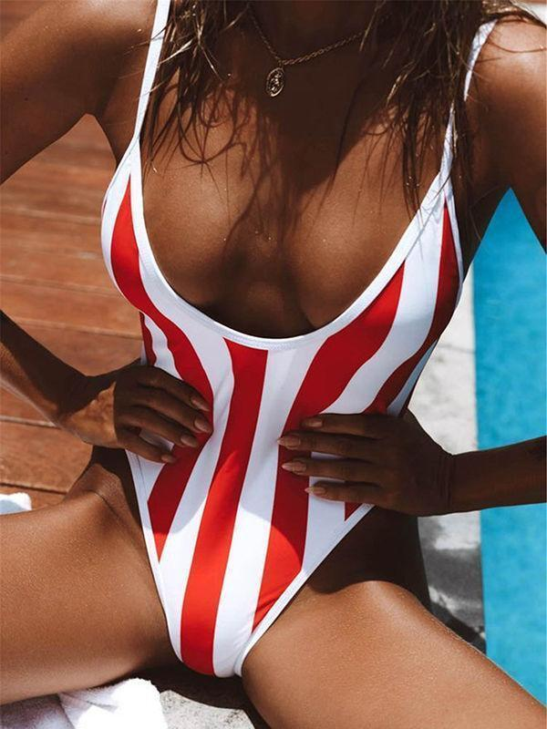 Red & White Stripe One Piece Swimsuit