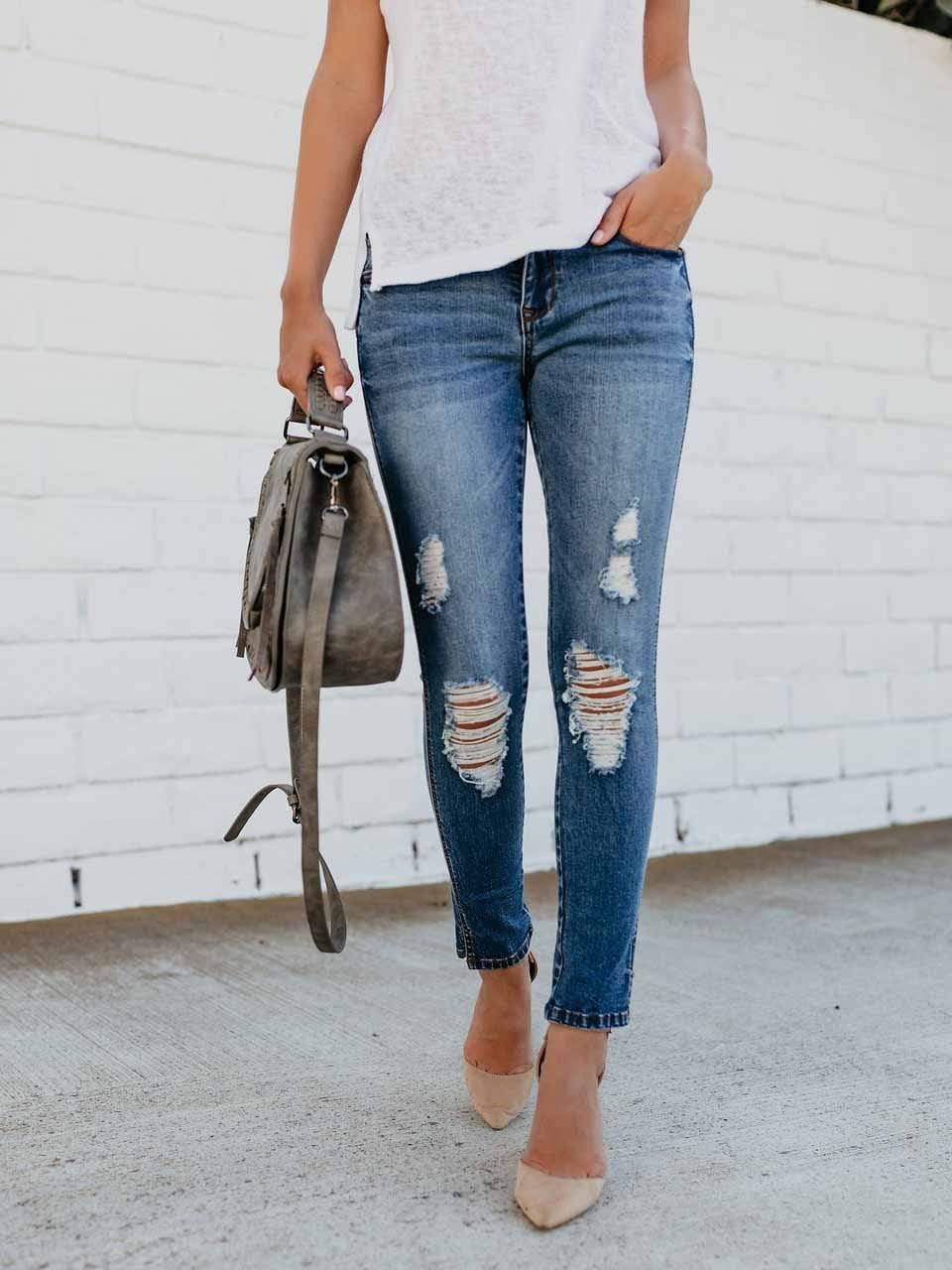 Slim Fit Split Ankle Hole Jeans