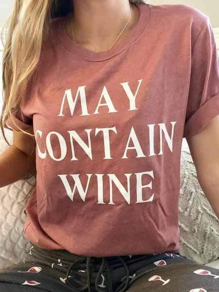 May Contain Wine Letter T-shirts