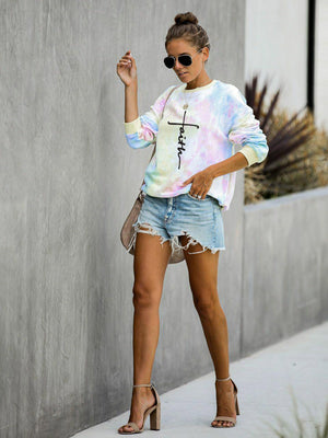 Faith Tie-Dye Long-Sleeve Hoodie With Round Neck