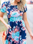 Floral Printed Short Sleeve Maxi Dresses