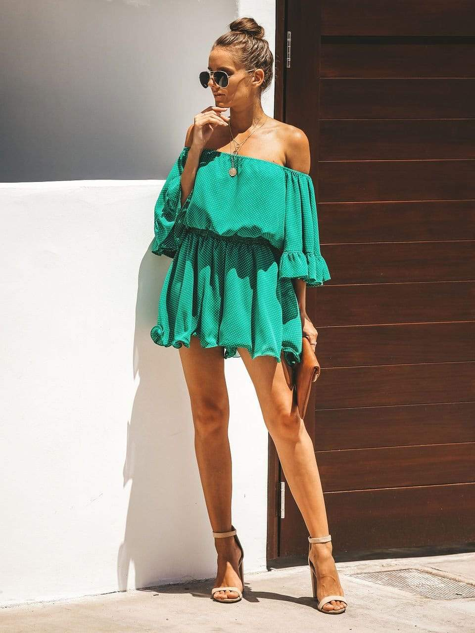 Fashion Wave Point Green Shorts /Shirt Suit