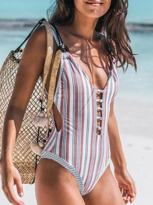 Striped Print One-Pieces Swimwear