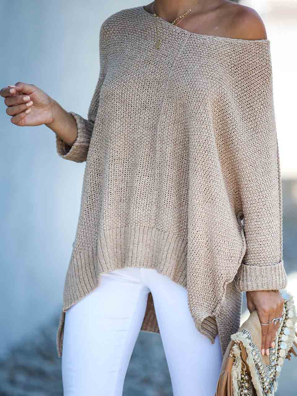 Netted Knit Open Arms Sweater