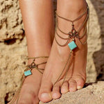 Turquoise Tassels Anklet
