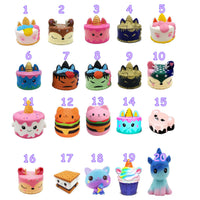 uk squishys, jumbo scented, soft, unicorn, cakes, ice cream, cat
