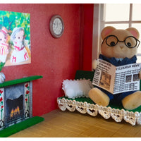 "alt=""sylvanian families father bear reading the paper"""
