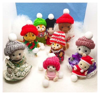 Miniature Knitted Wooly Hat, Scarf,Fit Sylvanian Families, Doll