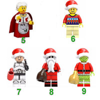 christmas lego mini figures, mrs claus, stormtrooper, the grinch, nightmare before christmas