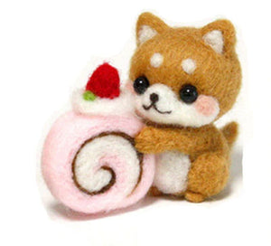 Needle Felting Kit - Shiba Inu with Strawberry Roll