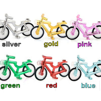 gold and silver lego bikes, bicycles, metallic red, green, blue,pink