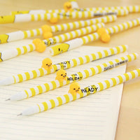 "alt=""lazy egg writing pen in yelllow"""