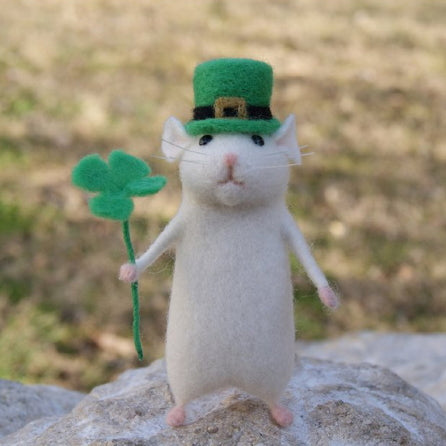 Needle Felting Kit - Lucky Irish Mouse