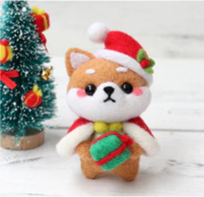 Needle Felting Kit - Christmas Shiba Inu