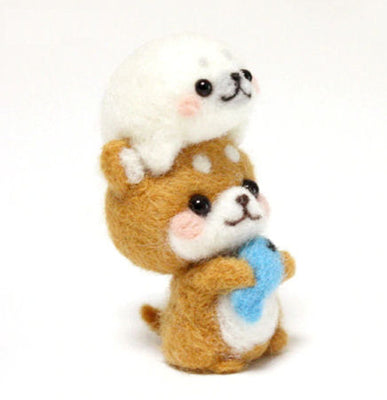 Needle Felting Kit - Shiba Inu & Seal Pup