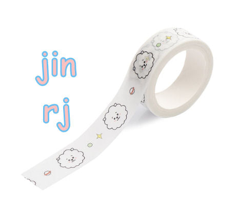 bts washi tape, bt21 sticky tape stationery, jin, rj