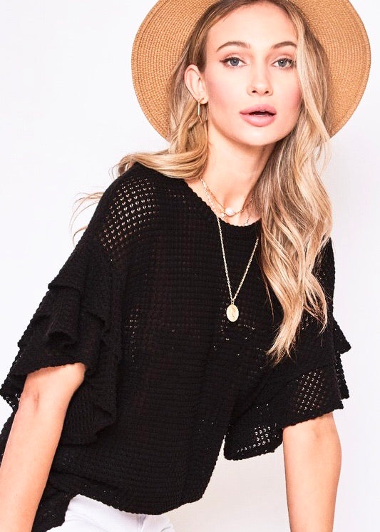 Let's Be Casual Waffle Knit Top - Black