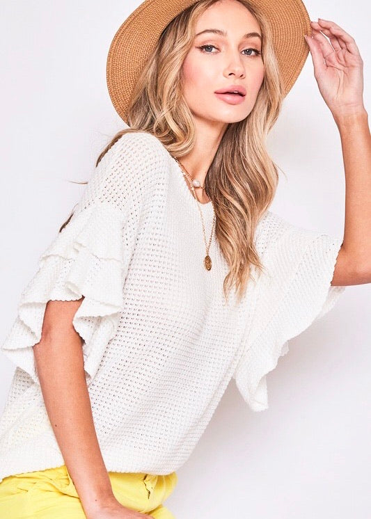 Let's Be Casual Waffle Knit Top - White