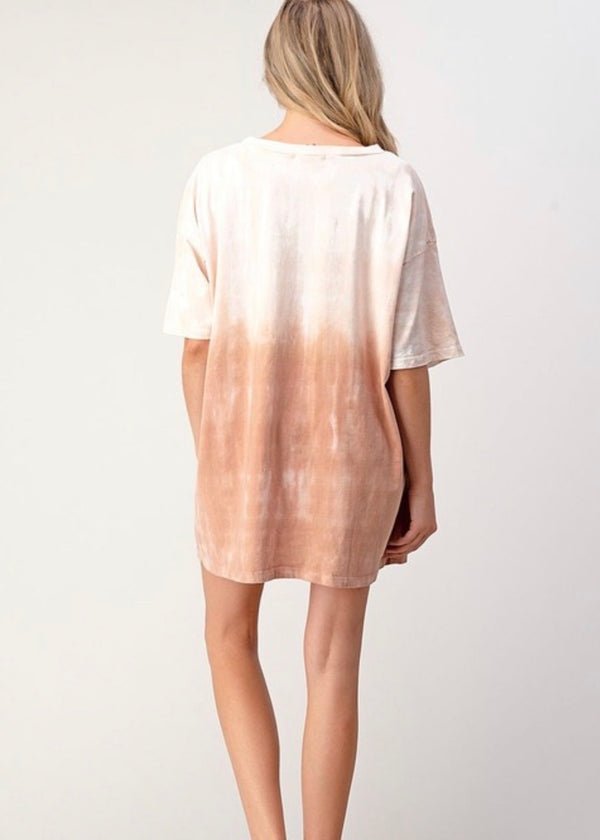 Text Me Later T- Shirt Dress- Clay