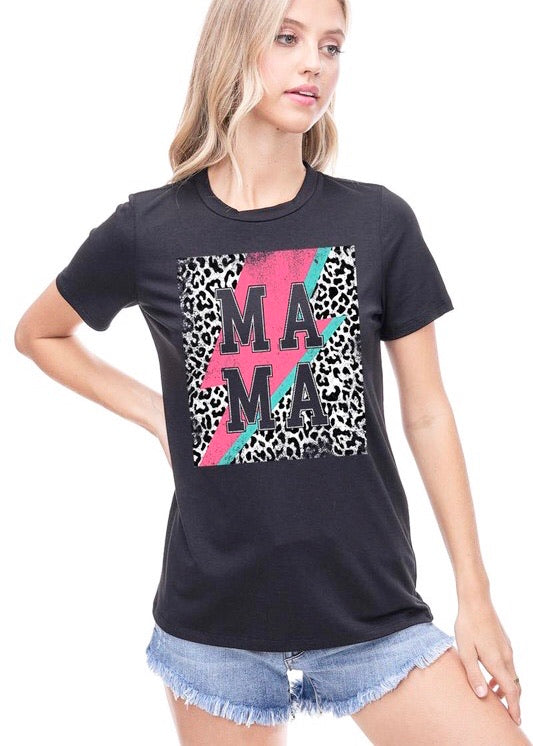 Mama Leopard Bolt Graphic Tee