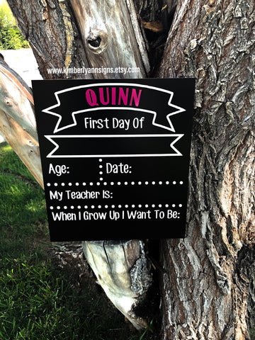 Reversible First day/Last day school sign. Whiteboard and Chalkboard sign. Back to school sign. 1st day of school, double sided sign