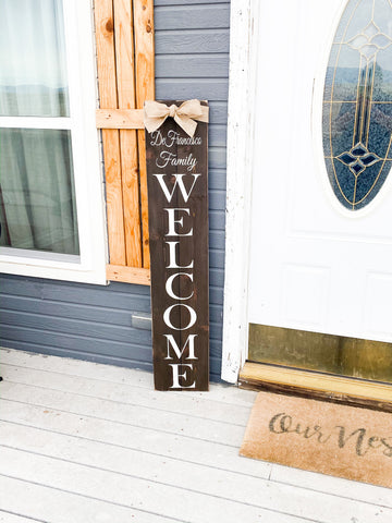 Personalized welcome farmhouse sign / Rustic welcome sign / Farmhouse front door welcome sign / Large welcome sign / Last name welcome sign